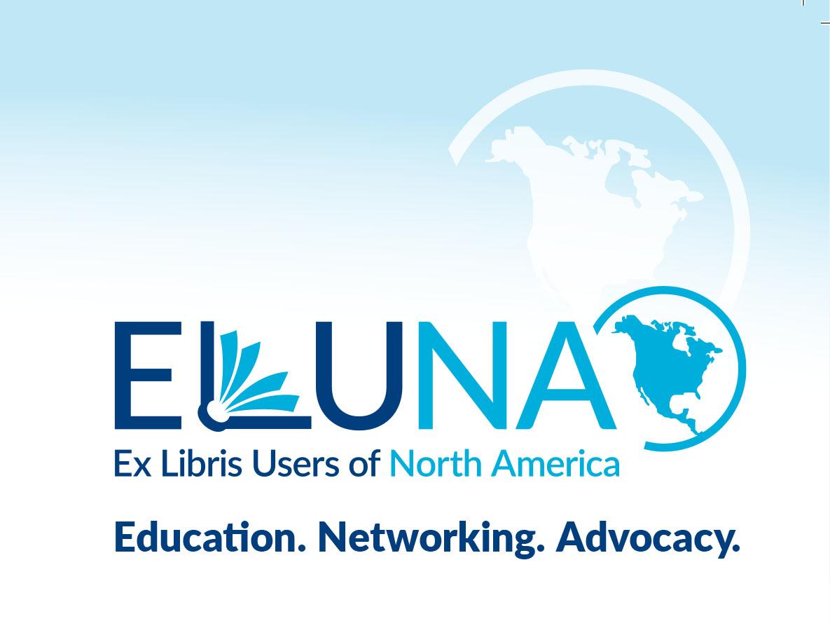ELUNA Logo - Ex Libris Users of North America.  Education. Networking. Advocacy
